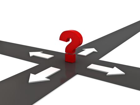 45514519 - red question mark on the crossroad with four arrow directions over white background