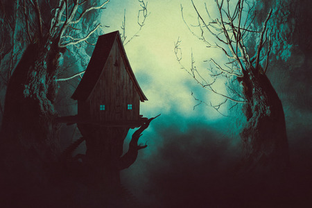 63699944 - halloween night background with spooky forest trees and witch house in fog.