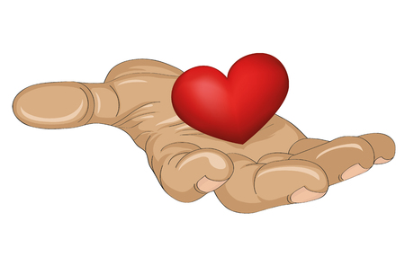 70634738 - red heart in the hand.  gesture open palm.  vector illustration on white background.