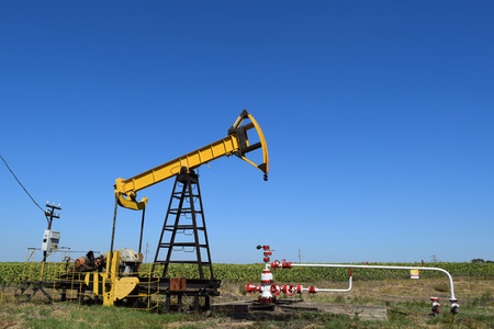45076022 - the pumping unit as the oil pump installed on a well. equipment of oil fields.