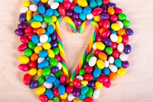 25675068 - frame  a background from colorful sweets of sugar candies